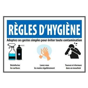 Autocollant A4 Règles d'hygiène