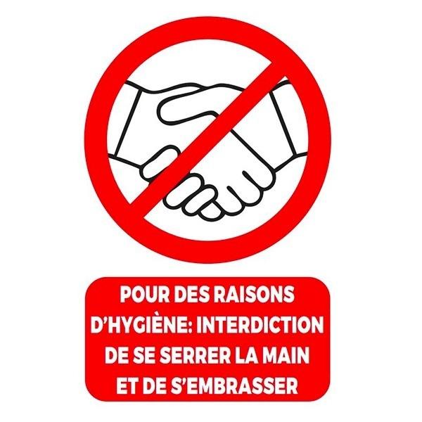Affiche en carton A4 Interdiction de se serrer la main