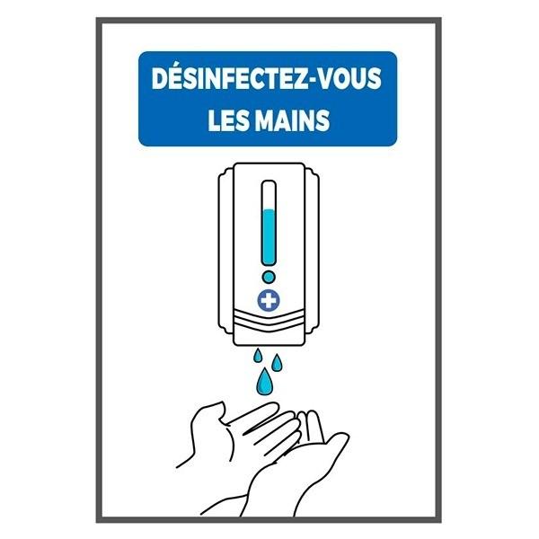 Affiche en carton A4 Désinfectez-vous les mains