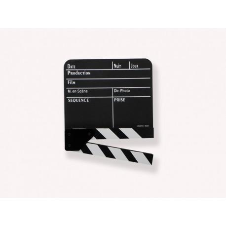 Véritable Clap cinéma Français noir moyen modèle 190 x 145mm utilisé sur la plupart des tournages