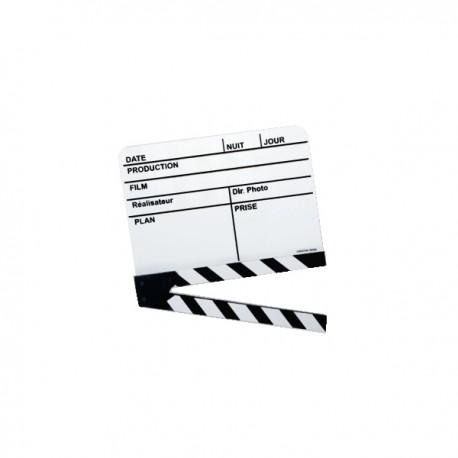 Véritable Clap cinéma Français blanc moyen modèle 190x190mm utilisé sur la plupart des tournages