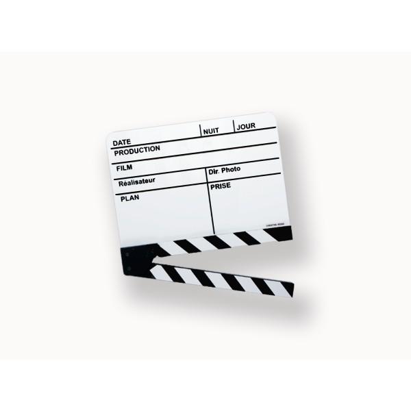 Véritable Clap cinéma Français blanc grand modèle 280x190mm utilisé sur la plupart des tournages